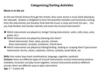 Musical Instrument sorting activities for Bonbon and Doudou's Adventure