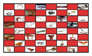 Musical Instruments Legal Size Photo Checkerboard Game