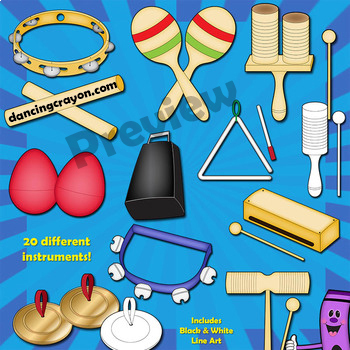 Musical Instruments: Classroom Percussion Instruments Clip Art Bundle