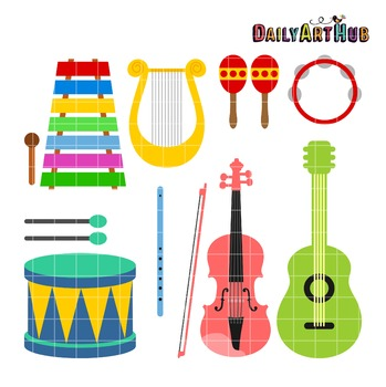 Musical Instruments Clip Art - Great for Art Class Projects!