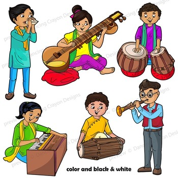 Musical Instruments Clip Art   World Music Kids Playing Instruments of India