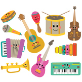 Musical Instruments Clipart & Vector Set