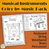Musical Instruments Color by Note Worksheets Bundle
