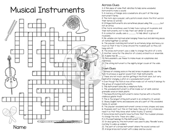 Musical Instruments - Crossword Puzzle - Reproducible - Music - Theory - Band