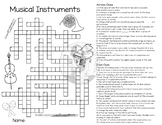 Musical Instruments - Crossword Puzzle - Reproducible - Mu