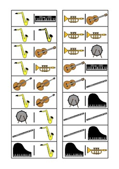 Musical Instruments Dominoes Game, Turn Taking Skills Autism & Special Education