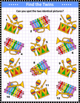 Musical Instruments Find the Identicals Visual Puzzle, Commercial Use Allowed