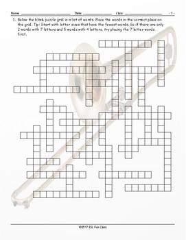 Musical Instruments Framework Puzzle Worksheet