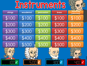 * Musical Instruments Jeopardy Style Game Show