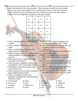 Musical Instruments Magic Square Worksheet