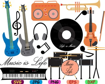Musical Instruments Music note guitar svg Clip art piano violin song lyrics -79S