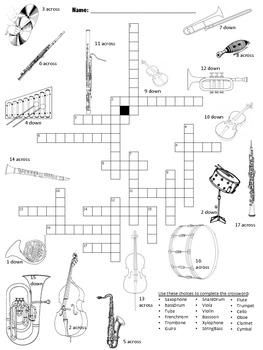Musical Instruments Picture Crossword