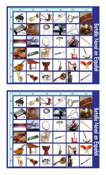 Musical Instruments Spanish Legal Size Photo Battleship Game