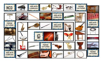Musical Instruments Spanish Legal Size Photo Board Game