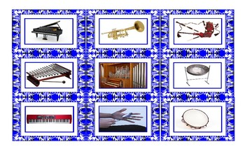 Musical Instruments Spanish Legal Size Photo Card Game