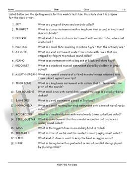 Musical Instruments Study Sheet