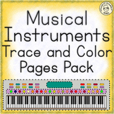 Musical Instruments Trace and Color Pages Bundle