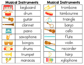Musical Instruments Word List - Writing Center
