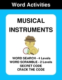 Musical Instruments - Word Search, Word Scramble,  Secret