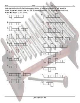 Musical Instruments Word Shapes Worksheet