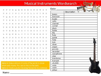 Musical Instruments Wordsearch Sheet Starter Activity Keywords Cover Music