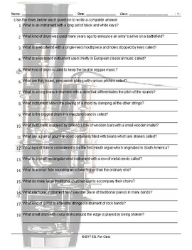 Musical Instruments Write Answers Worksheet