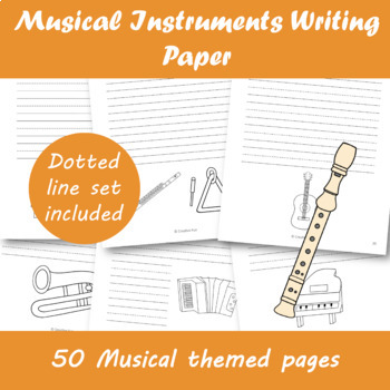 Musical Instruments Writing Paper