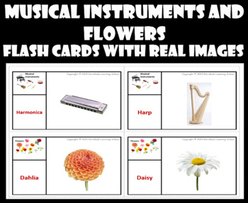 Musical Instruments and Flowers - Flash Cards with Real Images