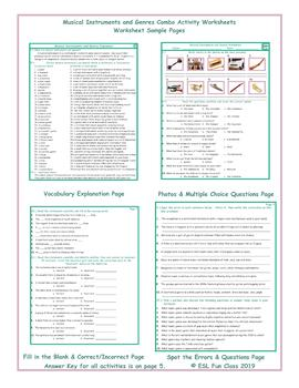 Musical Instruments and Genres Combo Activity Worksheets