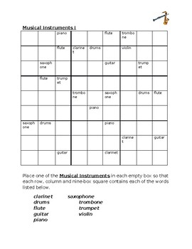 Musical Instruments in English Sudoku