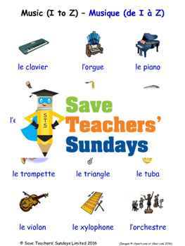 Musical Instruments in French Worksheets, Games, Activities and Flash Cards (2)