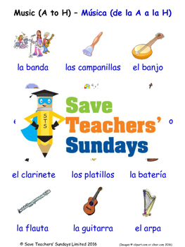 Musical Instruments in Spanish Worksheets, Games, Activiti