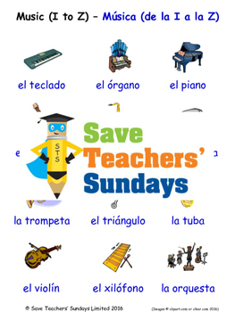 Musical Instruments in Spanish Worksheets, Games, Activities and Flash Cards (2)