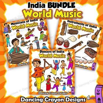 Musical Instruments of India Clip Art BUNDLE | World Music Kids