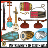 Musical Instruments of South Asia/India Clip Art