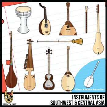 Musical Instruments of Southwest and Central Asia Clip Art