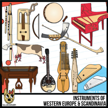 Musical Instruments of Western Europe and Scandinavia Clip Art