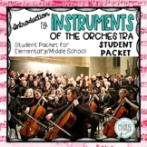 Musical Instruments of the Orchestra - Student Packet Worksheets