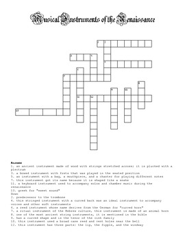 Musical Instruments of the Renaissance crossword puzzle