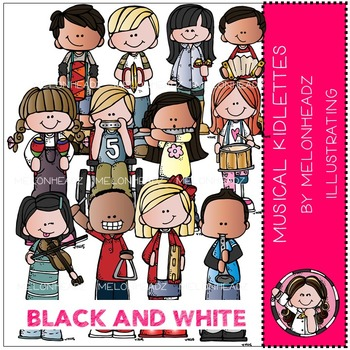 Musical Kidlettes clip art - BLACK AND WHITE- by Melonheadz