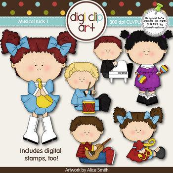 Musical Kids 1-  Digi Clip Art/Digital Stamps - CU Clip Art