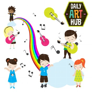 Musical Kids Clip Art - Great for Art Class Projects!