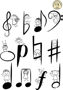Musical Kids Doodle Clipart