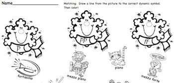 Musical Matching Snowflakes - Dynamic Symbols Worksheet