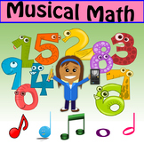 Musical Math: Counting Beats 4 Basic Notes, Bulletin Board plus Worksheets Set 1