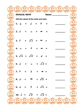 musical math halloween worksheet by music with mrs k tpt. Black Bedroom Furniture Sets. Home Design Ideas