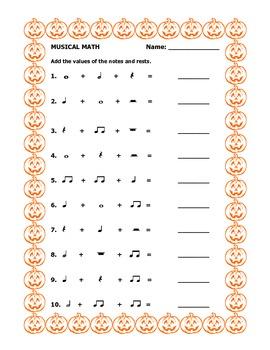 musical math halloween worksheet by music with mrs k tpt. Black Bedroom Furniture Sets. Home Design Ideas