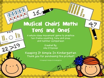 Tens and Ones Musical Chairs Math - A math movement game f