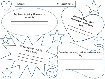 End-of-Year Reflections in Music Class Memory Sheet
