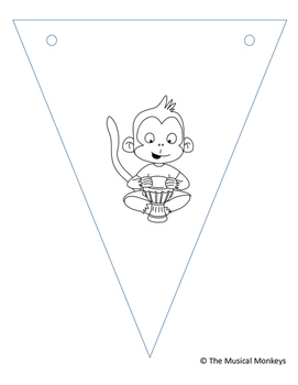 Musical Monkey Garland - Coloring Pages